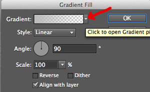 Gradient Fill menu in Photoshop