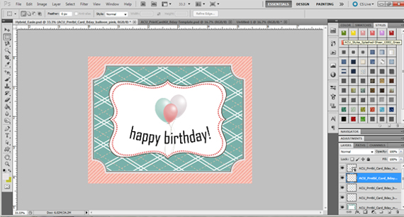 create easel card front
