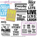 journal card word art digital stamps