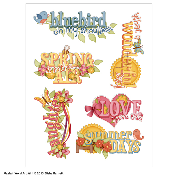 mayfair digital scrapbooking word art