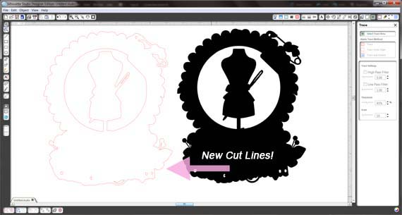 silhouette fabric tracing part 3