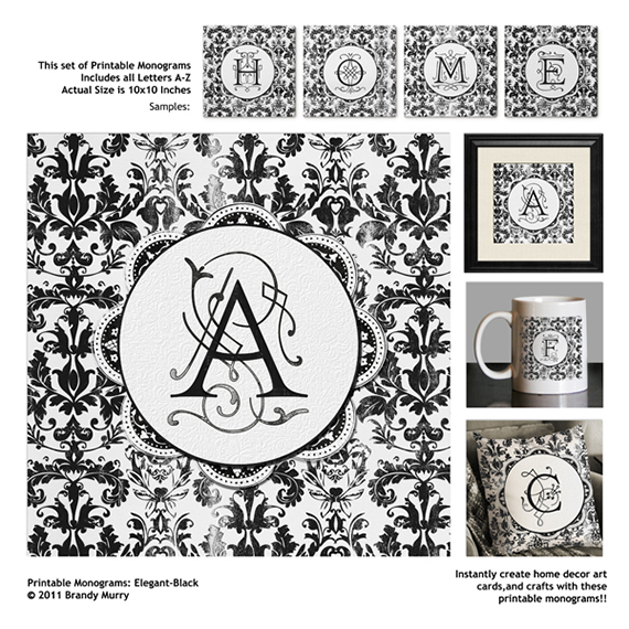 printable monograms elegant black