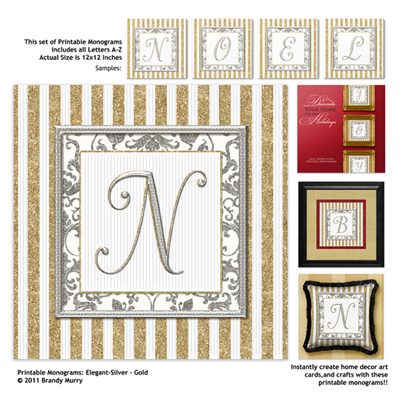 printable monograms elegant silver gold