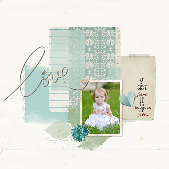 sketched leaves digital scrapbook layout