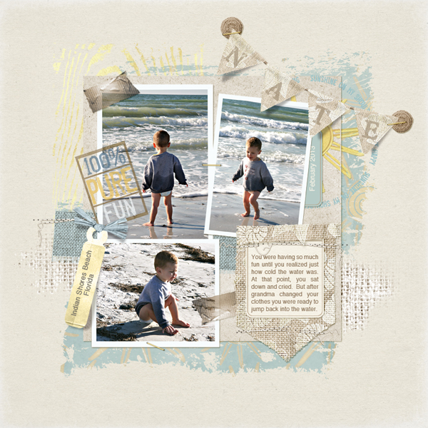 digital scrapbook layout wood brushes