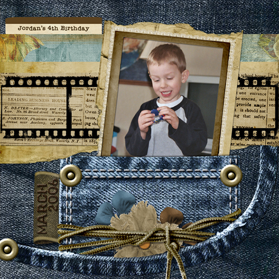 denim digital scrapbook layout