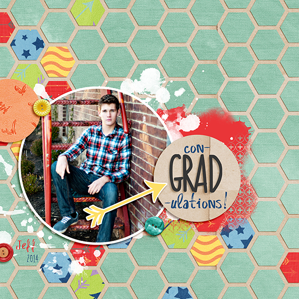 hexies digital scrapbook layout