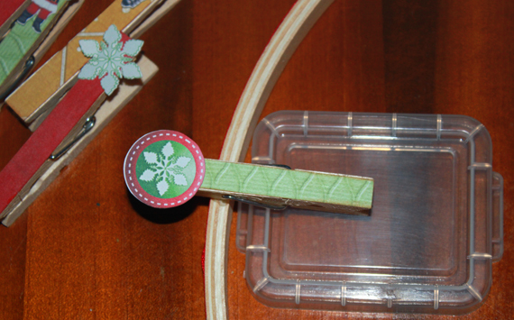glue clothespins to display