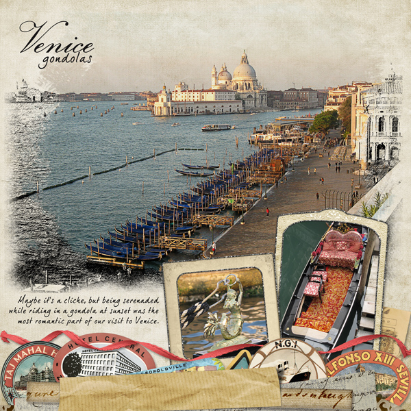 A digital scrapbooking layout with the photo and background blended with brushes.