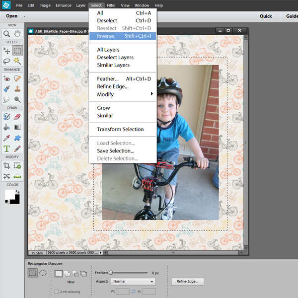 selecting a rectangle with the marquee tool