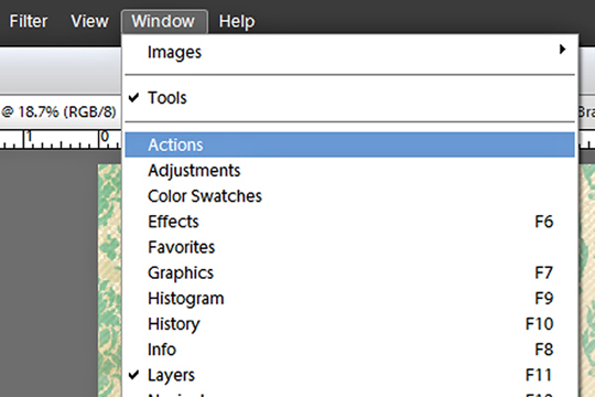 load actions PSE 11 window