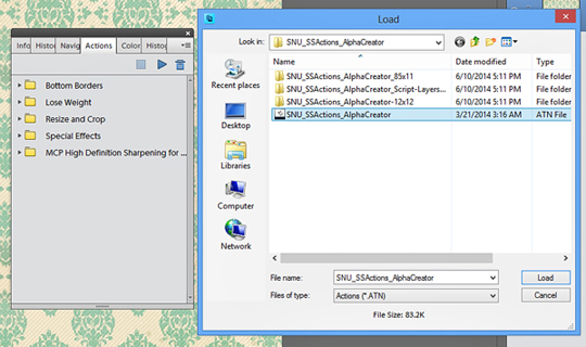 load actions PSE 11 file