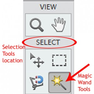 The select menu showing where to find the magic want tools