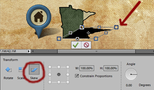 Photoshop screen shot showing how to skew a shadow.