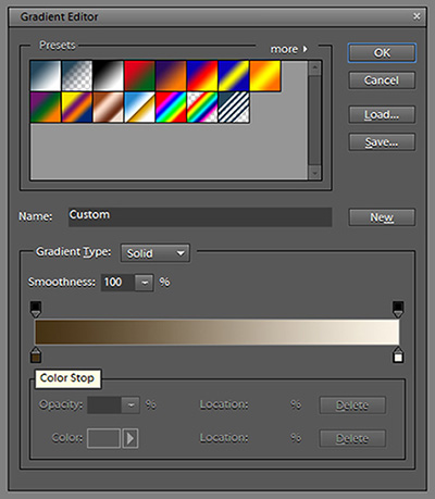 Color stops on the Gradient editor