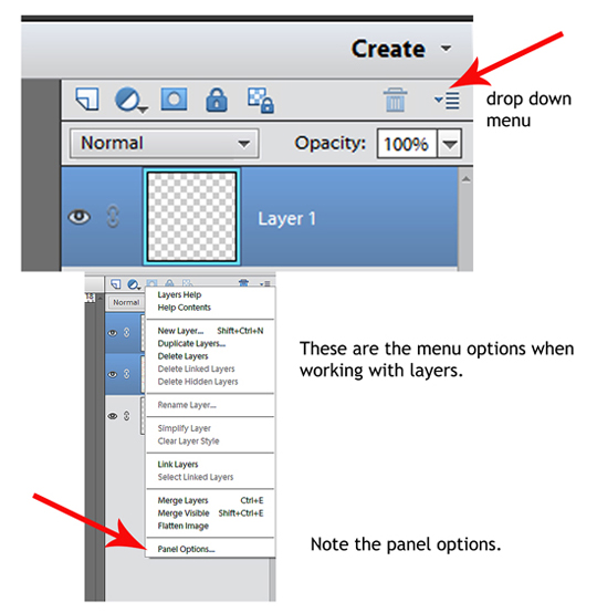 Drop down menu in layers