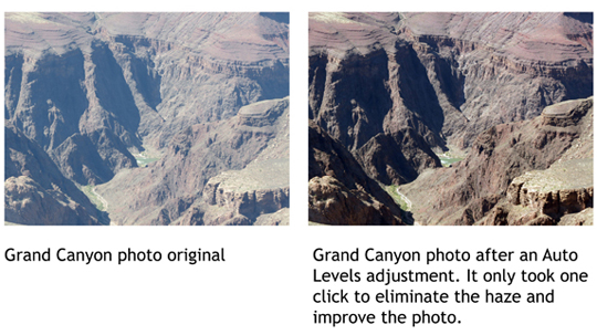 A landscape photo before and after Auto Levels Adjustment was applied