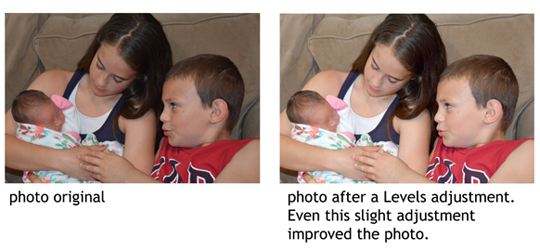 A family photo before and after adjustment using levels