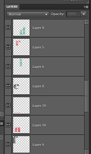 A screenshot from Photoshop Elements showing how to put each letter on a different layer