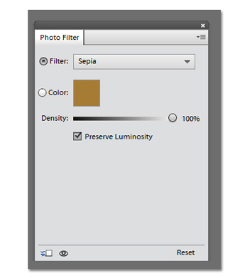 The sepia photo filter in Photoshop