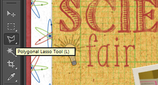 A screenshot showing how to use the polygonal Lasso Tool