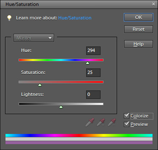 Using the Hue/Saturation window in Photoshop