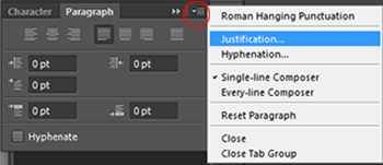 Fine tuning justified text in photoshop this will open the justification panel which allows you more control over how photoshop spaces letters and words and how it scales characters ccuart Image collections