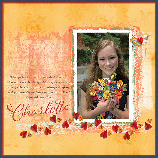 An example of a finished layout with flowers added to the photo