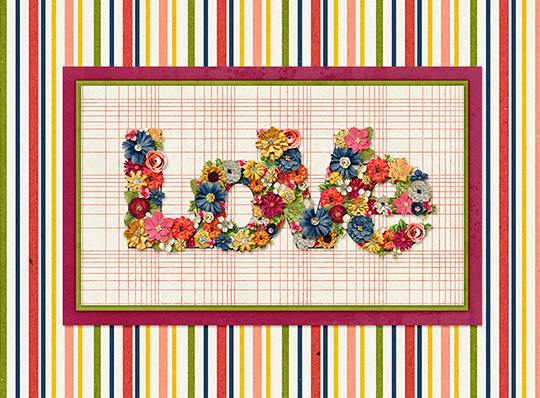 A digital layout using flowers to create the title
