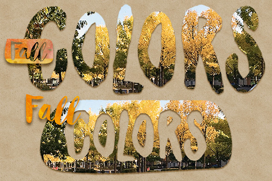 Example of using a fall photos as a mask for decorating tags