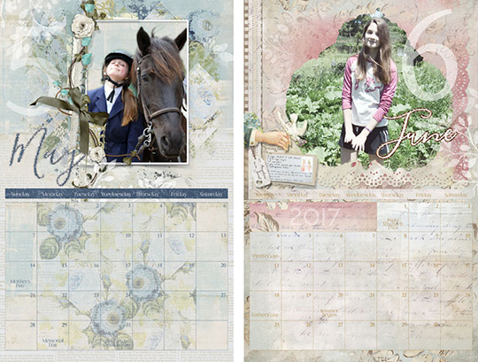 Beautiful calendar pages make with digital supplies