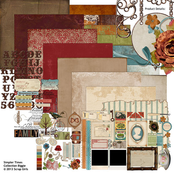 simpler times digital scrapbooking kit