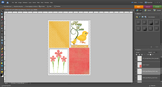 arrange digital elements for printing