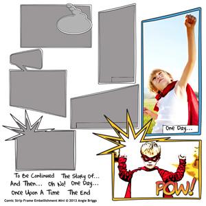 comic digital scrapbooking frames