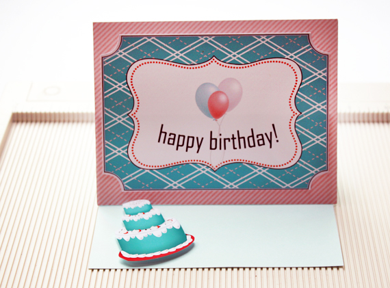 attach cake to card