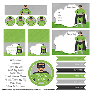 super boy printable party pack