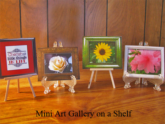 mini art gallery on shelf