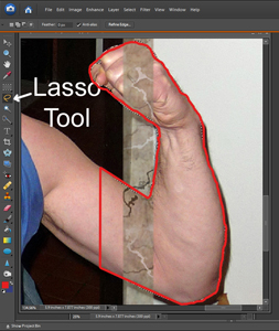 use lasso tool on arms
