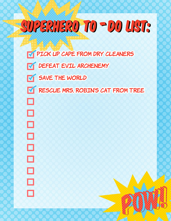superhero checklist free printable