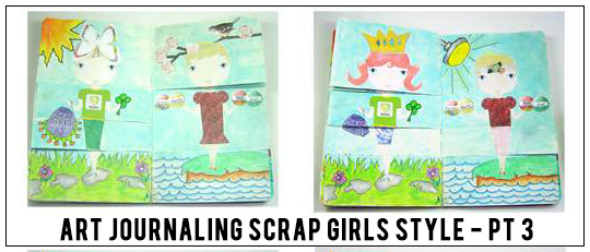 Art Journaling Scrap Girls Style Lesson 4 – Paper Doll Flip Pages!