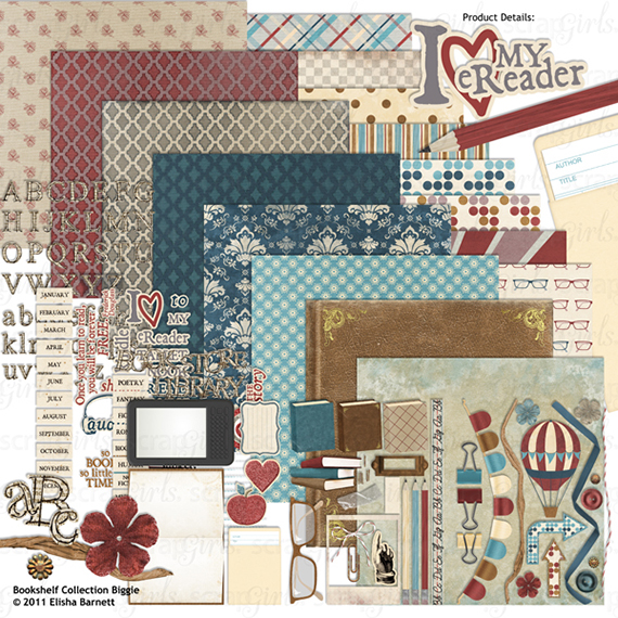 bookshelf digital scrapbooking kit