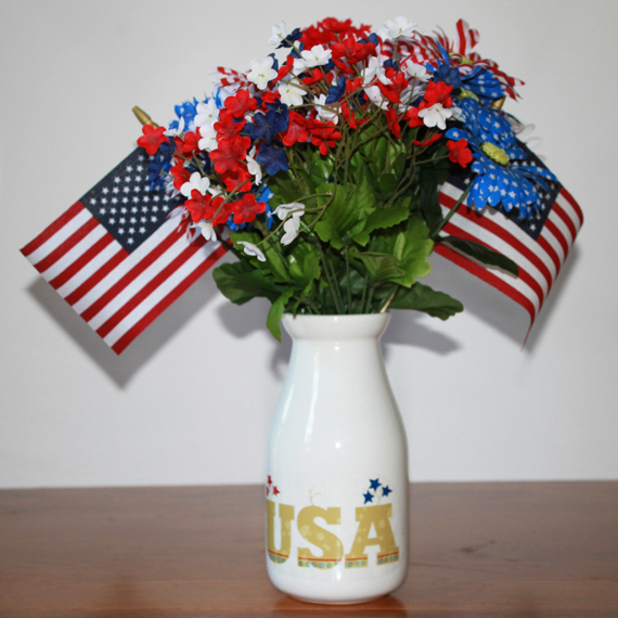 4th of july decals on vase