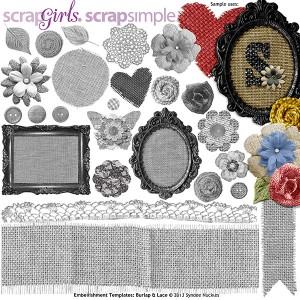 scrapsimple digital burlap and lace embellishments