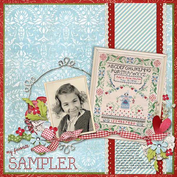 scanned heirlooms featured on a digital scrapbooking layout