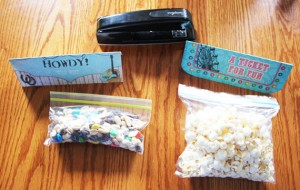 attach toppers to plastic filled baggies
