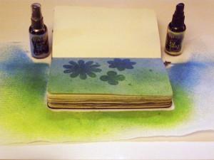spray ink over stencils