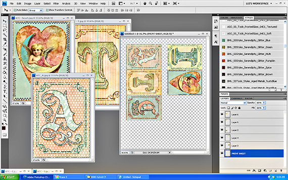photoshop workspace for creating atc's