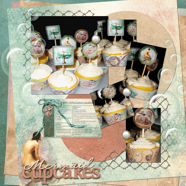 mermaid cupcakes digital layout