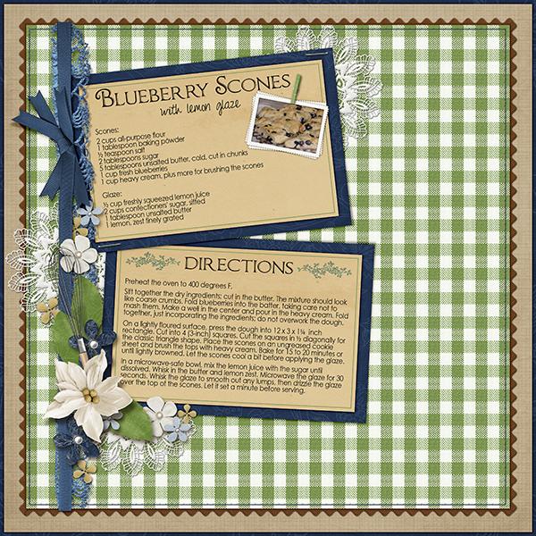 recipe card digital scrapbook layout