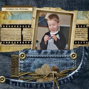 denim digital scrapbook layout